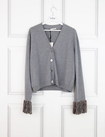 CHRISTOPHER KANE CLOTHING 14UK-46IT-42FR / Grey CHRISTOPHER KANE Fringed-Cuff Wool And Cashmere-Blend Cardigan
