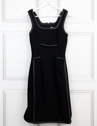 Christopher Kane black mid-length fitted dress with leather details 8UK- My Wardrobe Mistakes