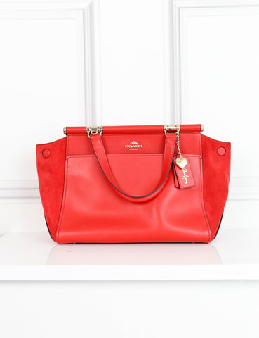 Coach red Grace 20 bag in calfskin- My Wardrobe Mistakes