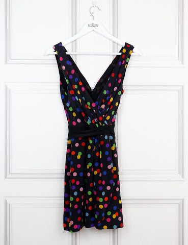 D&G multicolour sleeveless mini dress with polka dots 10UK- My Wardrobe Mistakes
