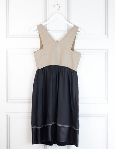 Derek Lam multicolour sleeveless dress with leather hemline 8Uk- My Wardrobe Mistakes