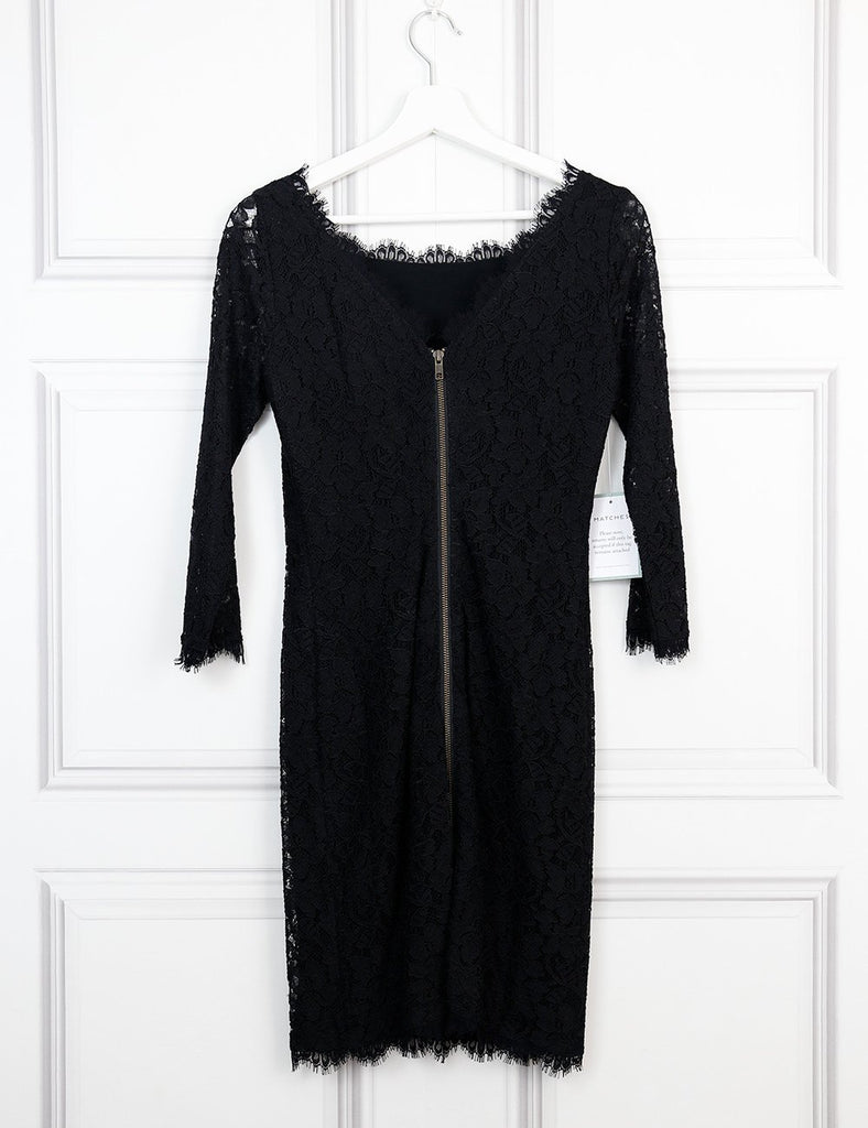 Diane von Furstenberg black fitted lace dress 8UK- My Wardrobe Mistakes