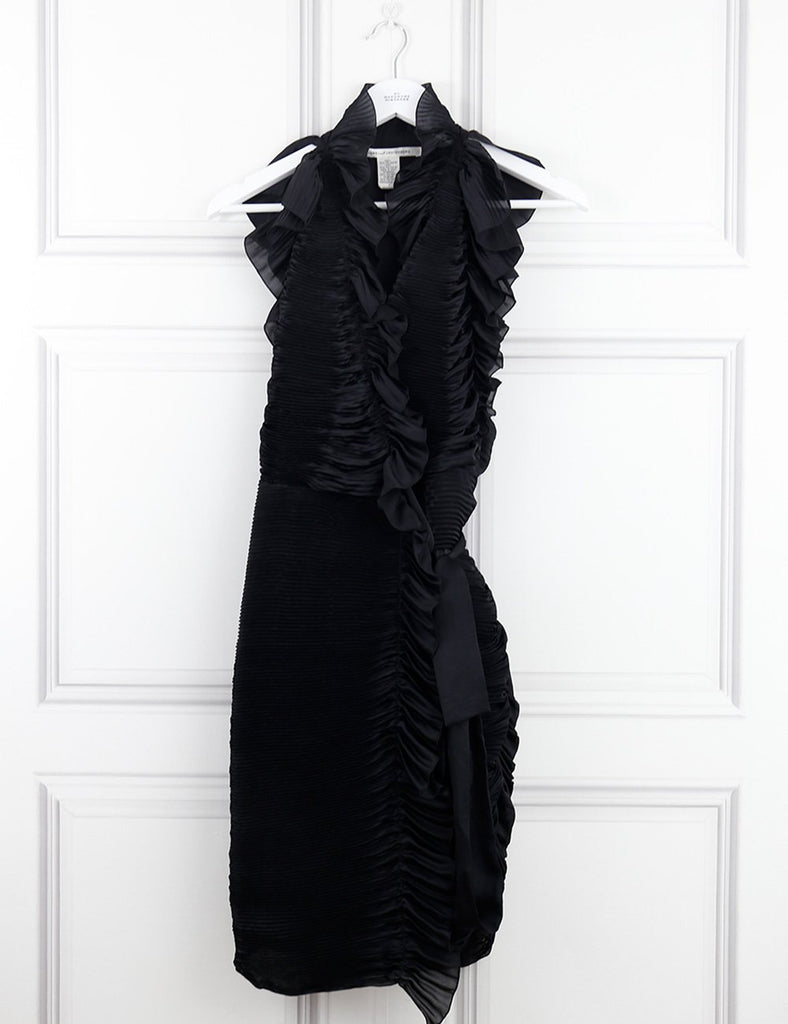 Diane von Furstenberg black ruched cocktail dress 8UK- My Wardrobe Mistakes