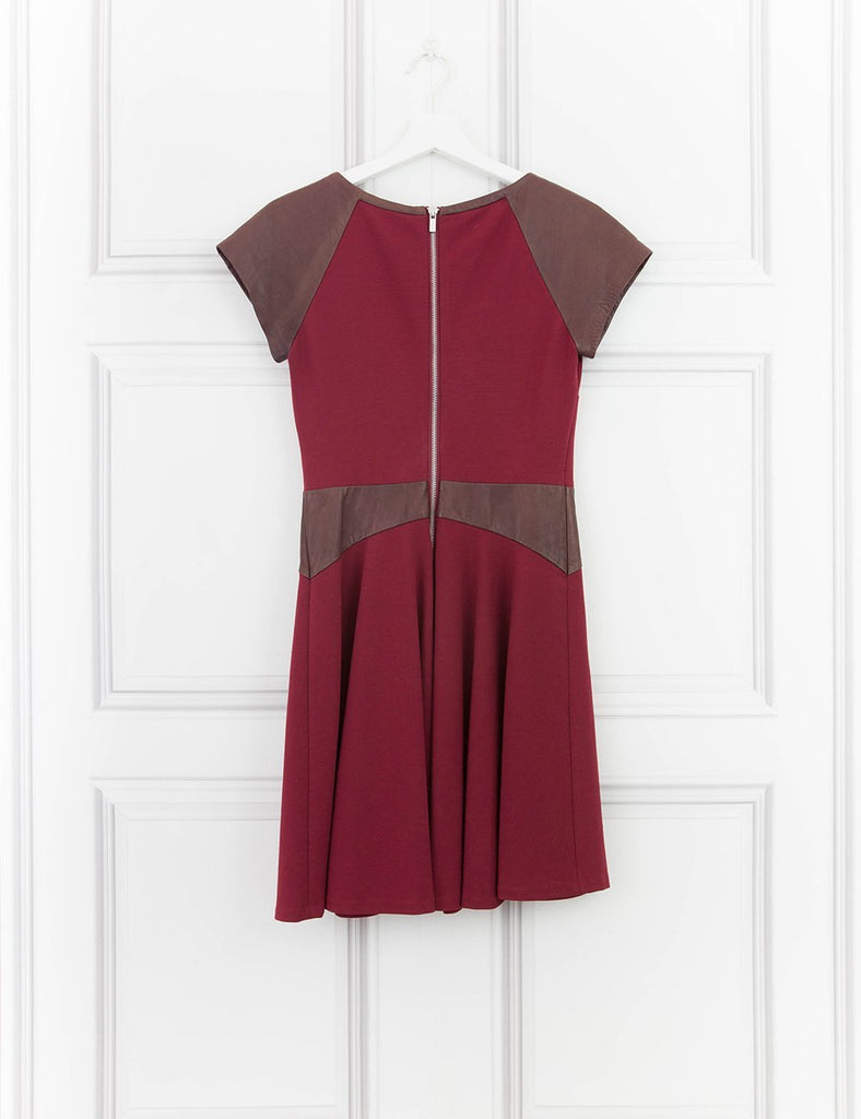 DIANE VON FURSTENBERG CLOTHING Leather detail skater dress 8UK- My Wardrobe Mistakes