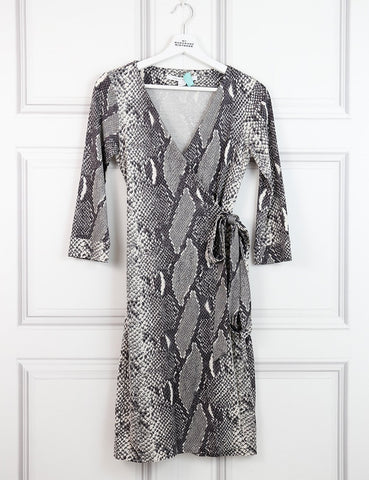 Diane von Furstenberg multicolour iconic wrap dress with snake print 8UK- My Wardrobe Mistakes