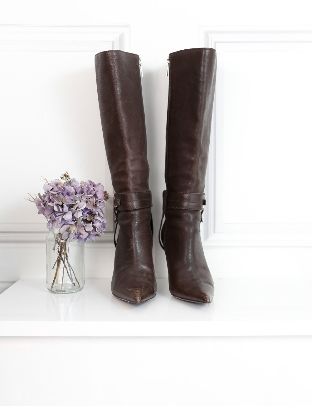 Dior brown pointed toe knee-high boots with logo C and D 5UK- My Wardrobe Mistakes