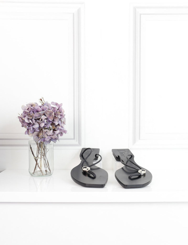 Dior black flat sandals with heart shaped lock 6.5Uk- My Wardrobe Mistakes
