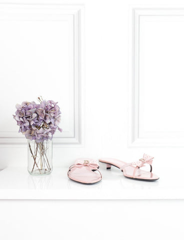 Dior pink kitten heel mules with bow 6Uk- My Wardrobe Mistakes