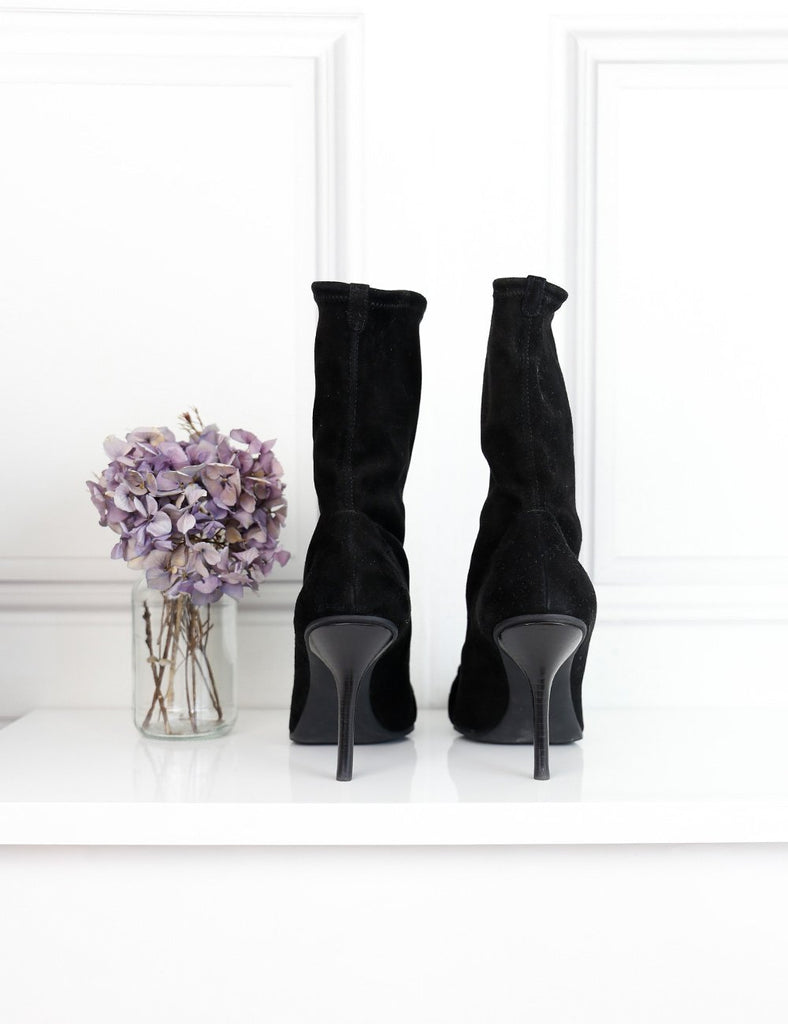 Dior black suede leather pointed toe ankle boots 7.5Uk- My Wardrobe Mistakes