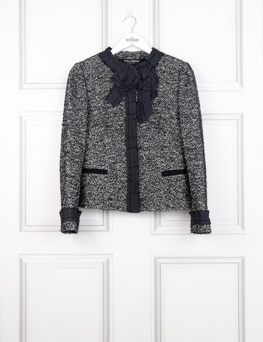 Dolce&Gabbana multicolour collarless tweed jacket with pleated details 10 UK- My Wardrobe Mistakes