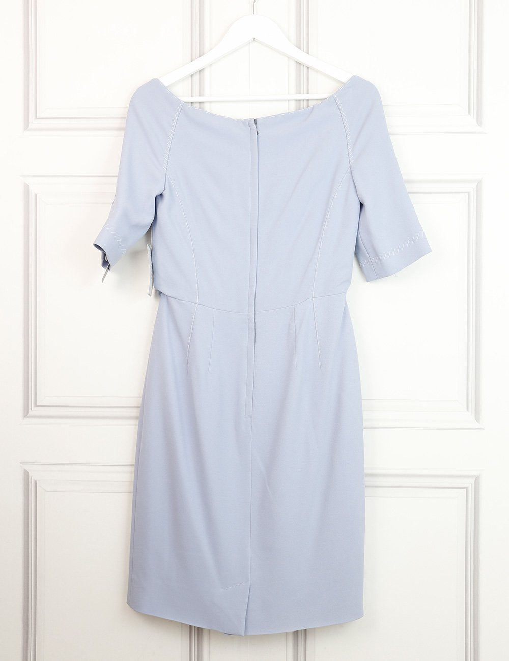 Dolce&Gabbana light blue structured midi dress with contrasting stitching 12UK- My Wardrobe Mistakes