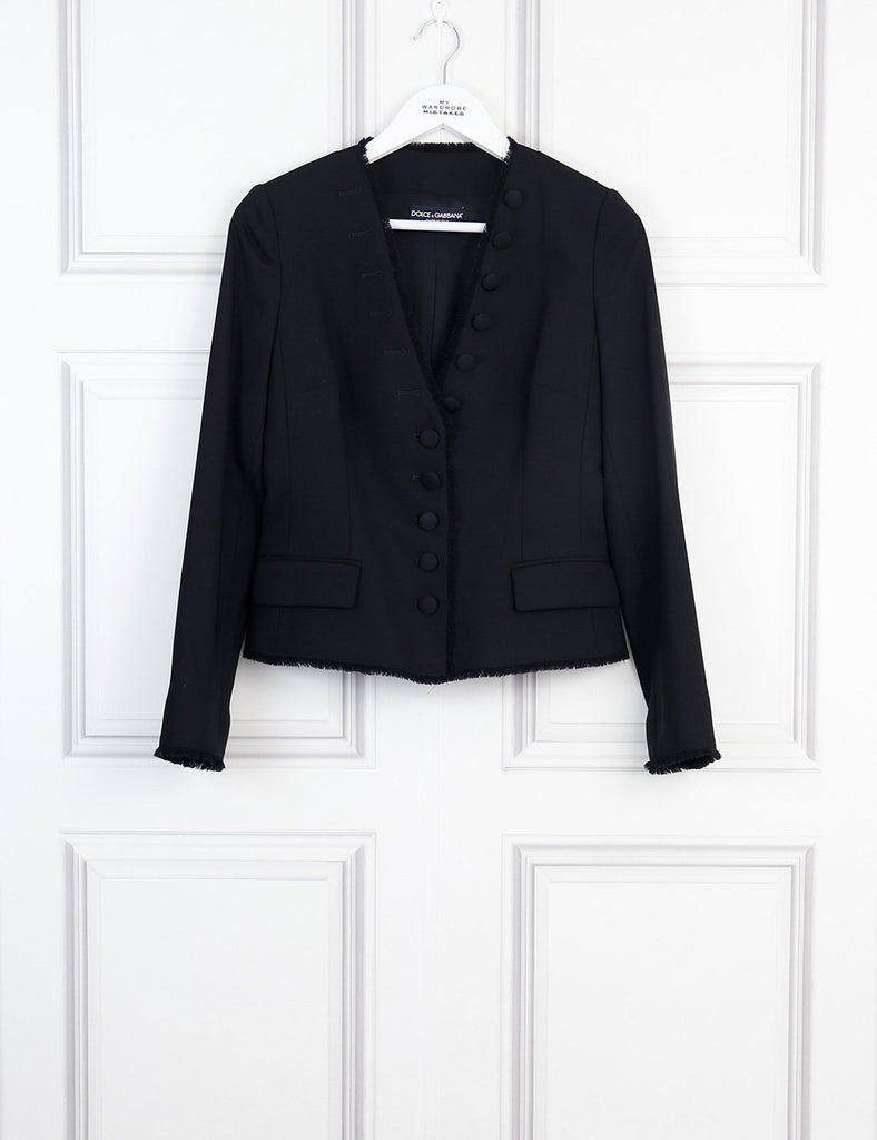 DOLCE & GABBANA CLOTHING 8UK-40IT-36FR / Black DOLCE & GABBANA Raw edges jacket with covered buttons