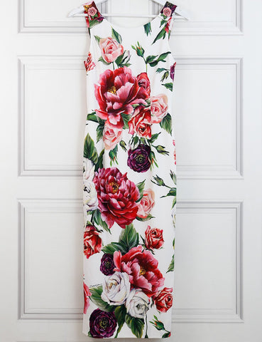 Dolce&Gabbana fitted peonies print dress 8Uk