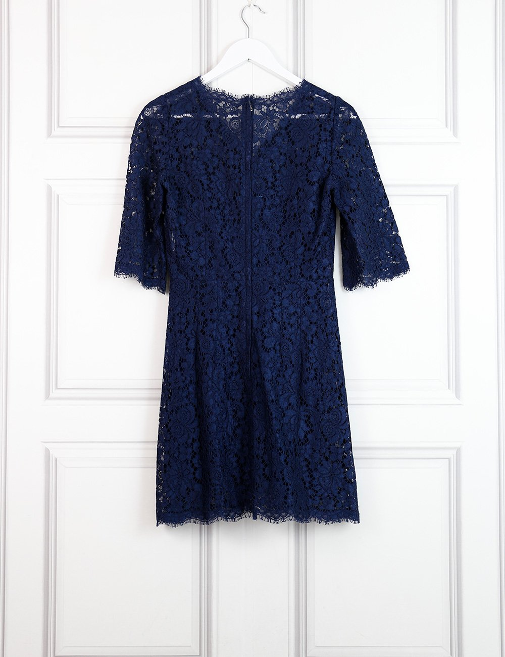 Dolce&Gabbana blue fitted lace dress with v-neck 8UK- My Wardrobe Mistakes