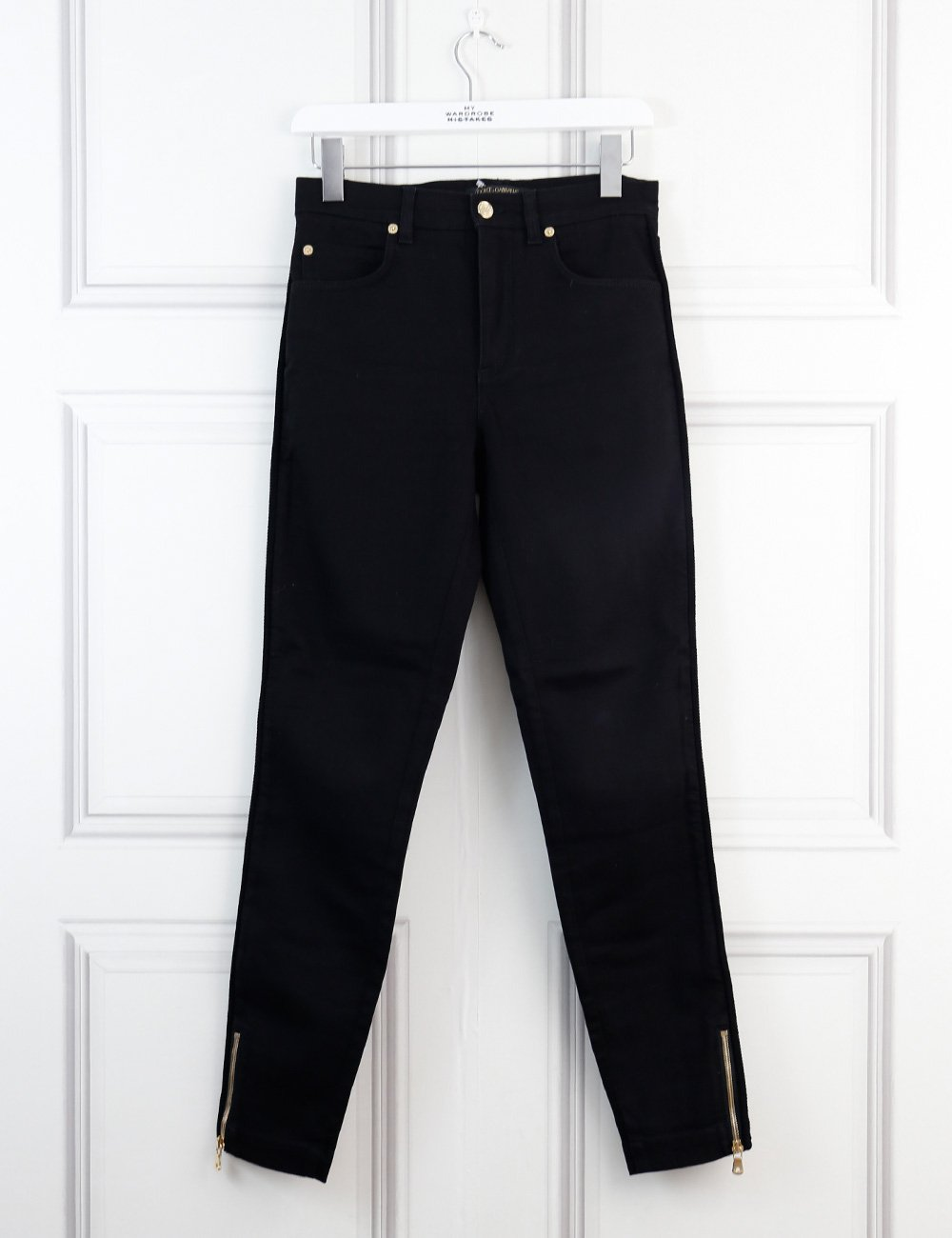 Dolce&Gabbana black denim trousers with rope detail at the side 8Uk