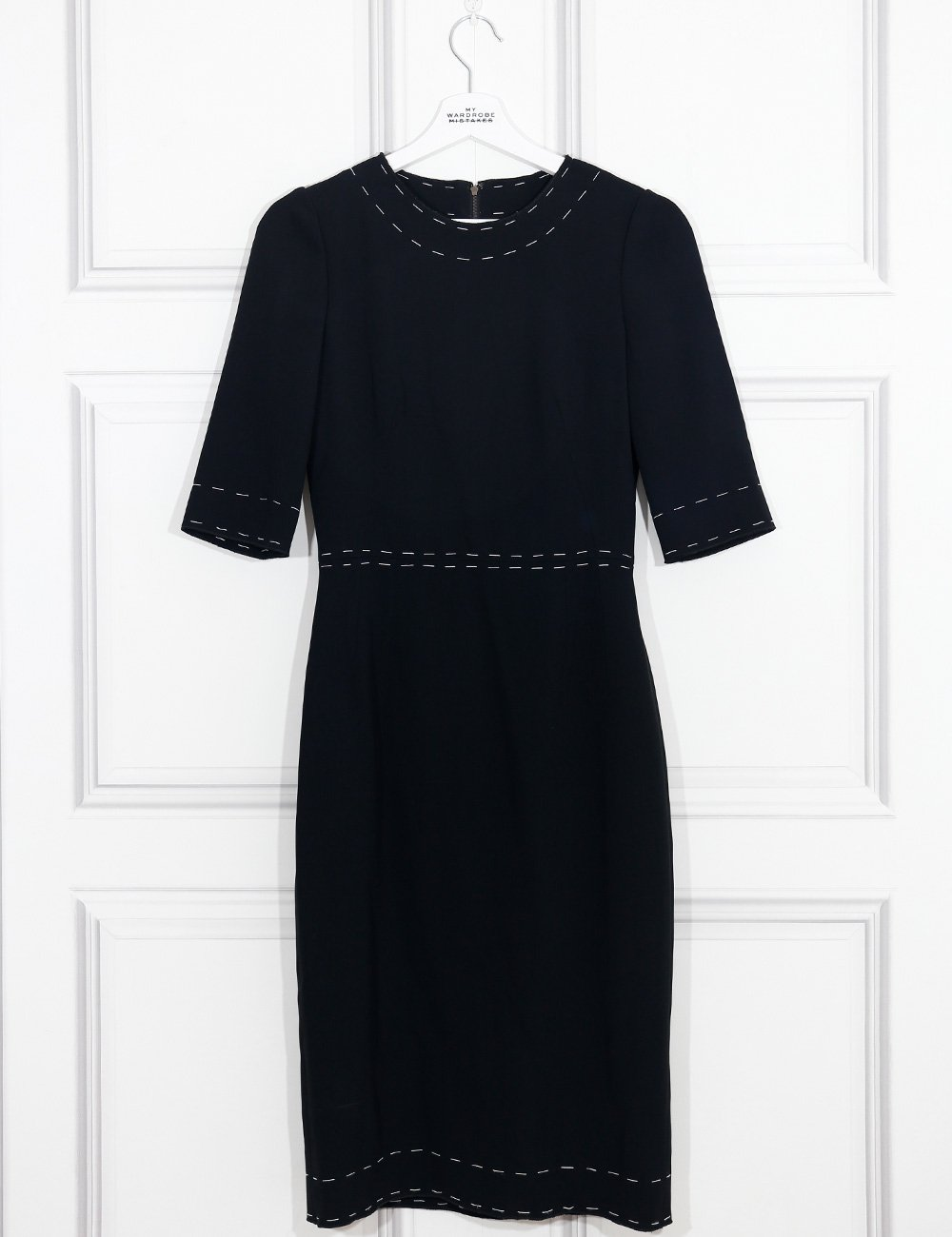 Dolce&Gabbana black mid-length dress with white stitching 8Uk- My Wardrobe Mistakes