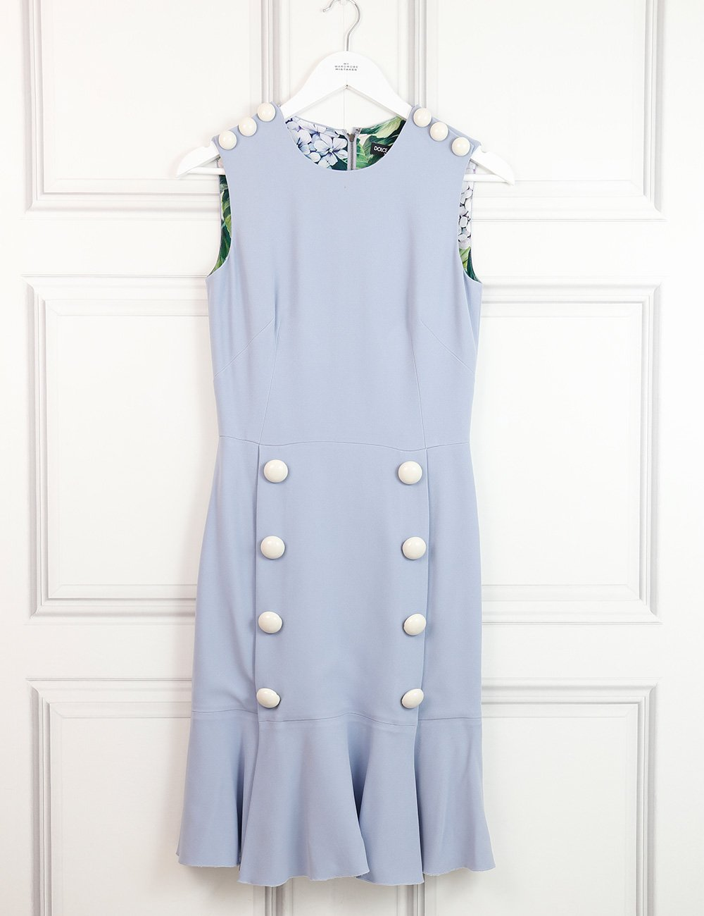 Dolce&Gabbana light blue sleeveless dress with lacquered buttons 8UK- My Wardrobe Mistakes