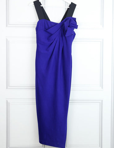 Donna Karan purple mid-length woollen dress with flower detail 14 UK- My Wardrobe Mistakes