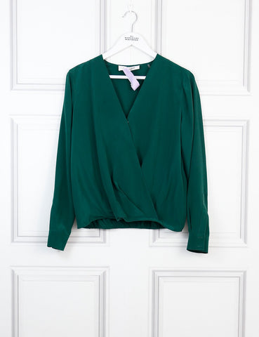 Diane Von Furtsenberg green wrap effect silk blouse 10Uk- My Wardrobe Mistakes