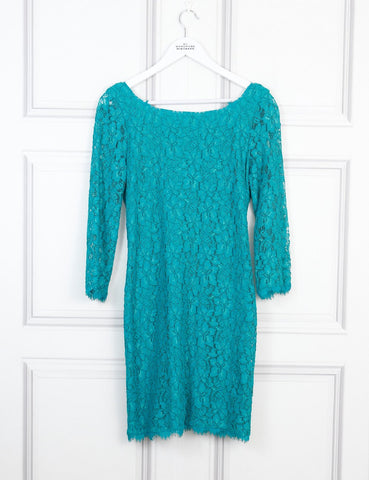 Diane Von Furstenberg green fitted lace dress 12 Uk- My Wardrobe Mistakes