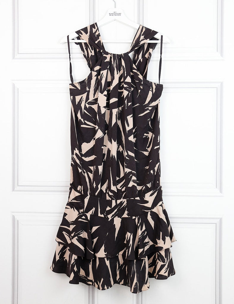 Diane von Furstenberg multicolour printed halterneck silk dress 6UK- My Wardrobe Mistakes