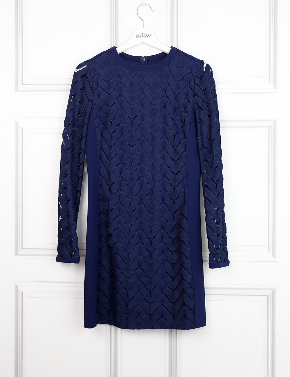 Diane von Furstenberg blue fitted dress with lace details 8UK- My Wardrobe Mistakes