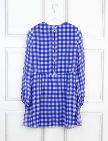 Diane von Furstenberg multicolour gingham silk chiffon mini dress 8Uk- My Wardrobe Mistakes