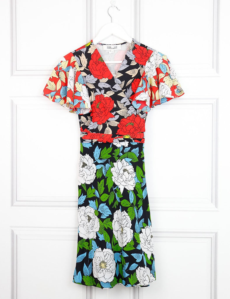 Diane von Furstenberg multicolour iconic wrap silk dress with large white print 6UK- My Wardrobe Mistakes