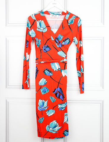 Diane von Furstenberg multicolour iconic wrap dress with large flowers print 8UK- My Wardrobe Mistakes