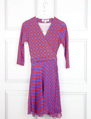 Diane von Furstenberg multicolour Irina chainlink wrap dress 8UK- My Wardrobe Mistakes