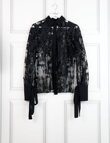 Elie Saab black lace shirt with sequins 12UK- My Wardrobe Mistakes
