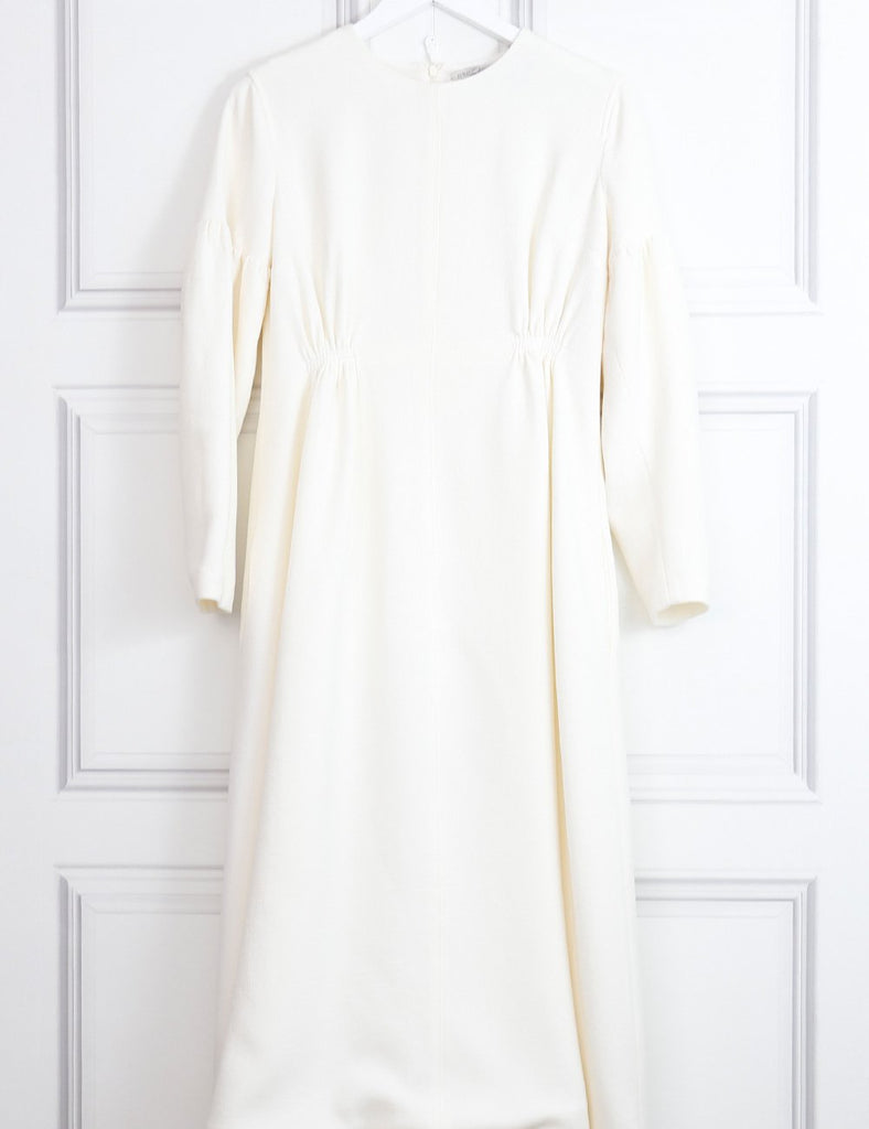 Emila Wickstead white Cecil smocked waist wool crepe dress 10Uk- My Wardrobe Mistakes