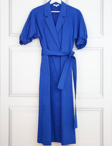 EQUIPMENT CLOTHING 10UK-42IT-38FR / Blue EQUIPMENT Blue Cotier Anitone short-sleeve wrap dress