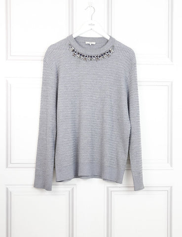 Erdem grey woollen sweater with embellished neck 8UK- My Wardrobe Mistakes