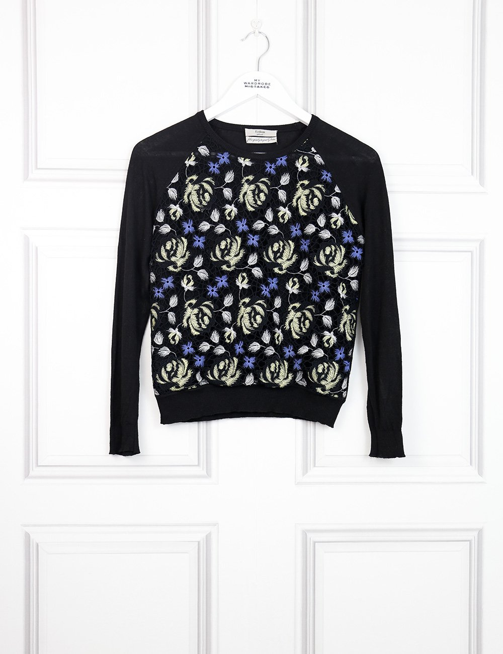 Erdem multicolour lace front knit sweater 8UK- My Wardrobe Mistakes