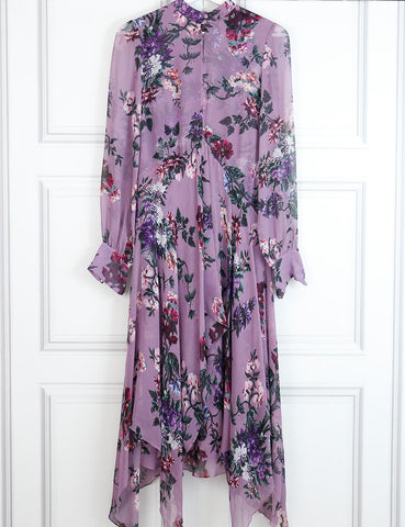 Erdem purple long silk dress with floral print 8UK- My Wardrobe Mistakes