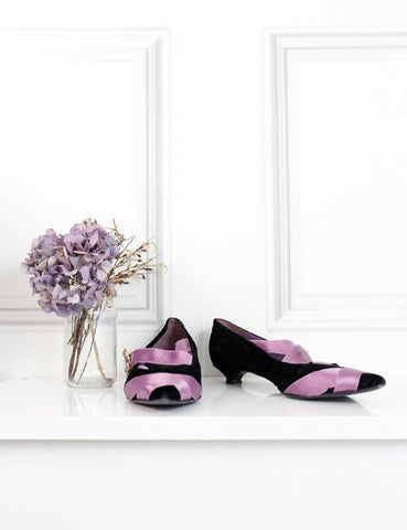 Erdem black and purple pointed toe velvet flats with jewel clasp 6UK- My Wardrobe Mistakes
