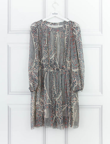 ETOILE ISABEL MARANT CLOTHING Chiffon bell sleeve belted Saphir dress
