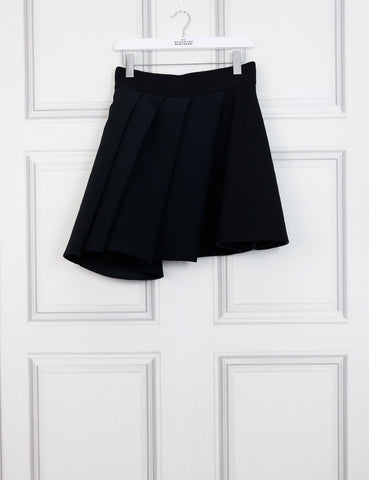 Fausto Puglisi black cady mini skirt with pleated overlay 12Uk