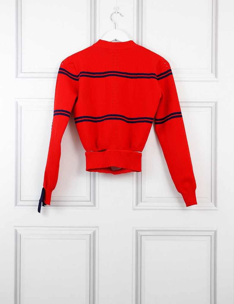 Fendi red cropped striped sweater 10Uk- My Wardrobe Mistakes