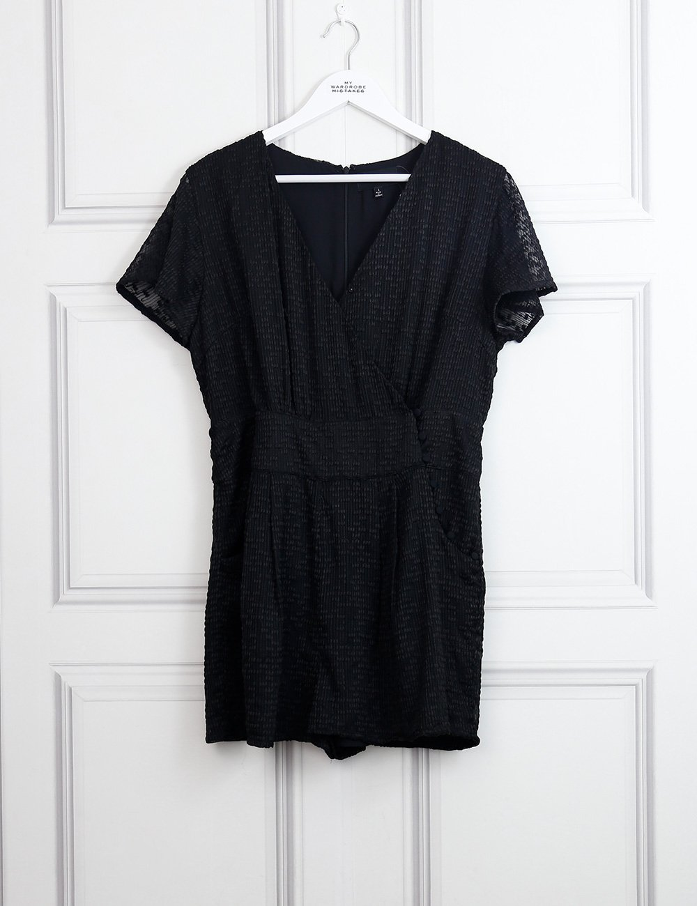 Five Seventy Five black wrap effect playsuit 12Uk