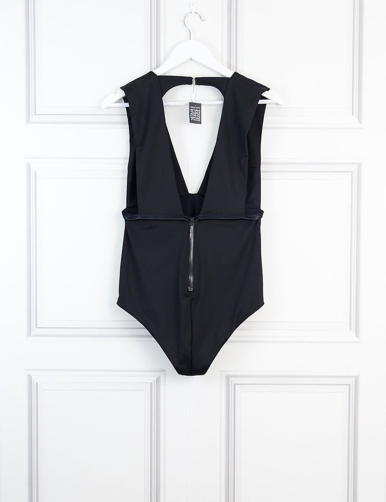 Fleur du Mal black plunge one piece swimsuit 12 Uk- My Wardrobe Mistakes