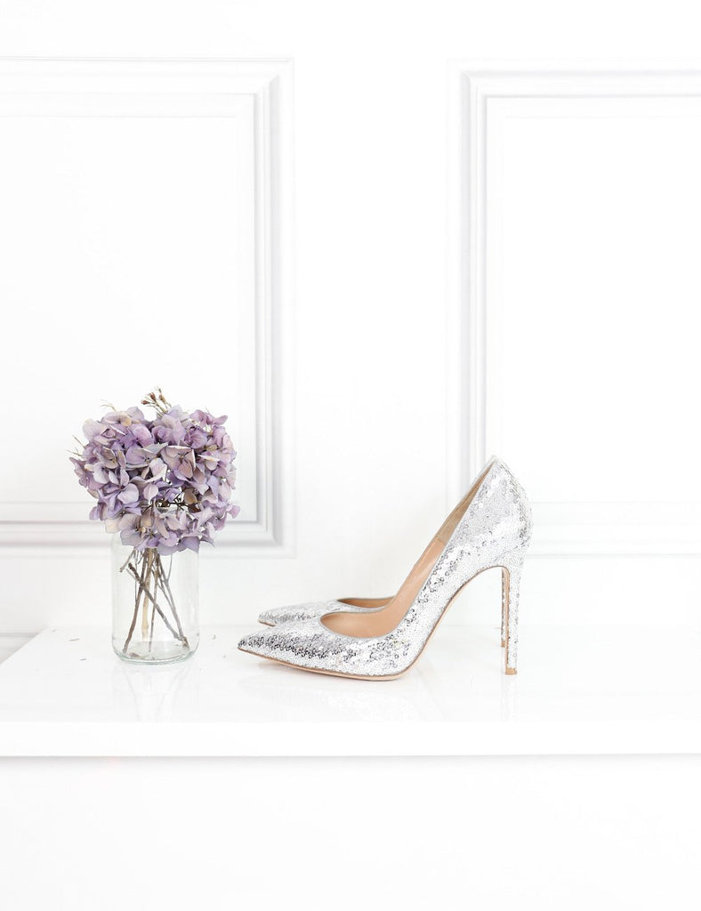 Gianvito Rossi silver pointed toe stiletto pumps Bari in sequins 5.5UK- My Wardrobe Mistakes
