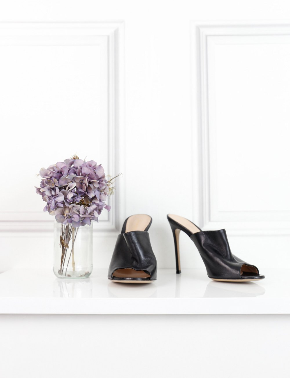 Gianvito Rossi black leather open toe mules with stiletto heels 5UK- My Wardrobe Mistakes