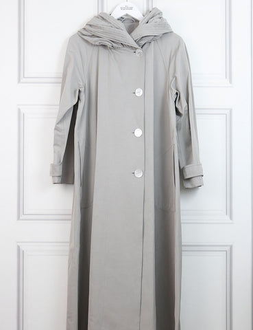 GIORGIO ARMANI CLOTHING 12UK-44IT-40FR / Grey GIORGIO ARMANI Cotton blend faille trench coat with pleated collar