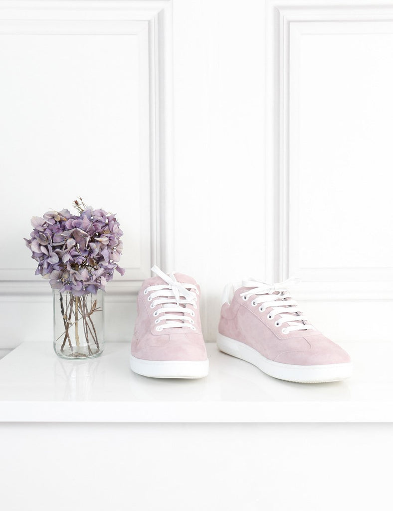 Giorgio Armani pink suede sneakers with perforated signature 6Uk- My Wardrobe Mistakes