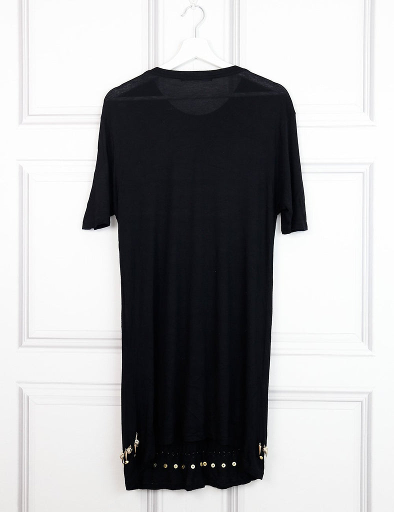 Givenchy black shift dress with hanging skulls and metal 8UK- My Wardrobe Mistakes