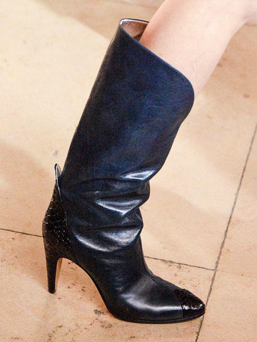 Givenchy black leather cowboy boots with snakeskin details 7UK- My Wardrobe Mistakes