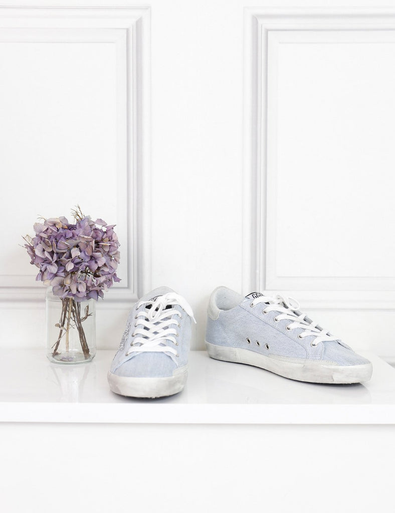 Golden Goose blue denim sneakers with glitter star limited edition 7UK