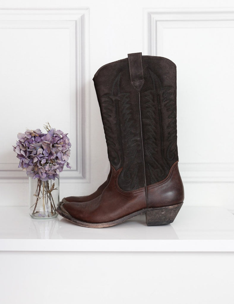 Golden Goose brown distressed leather cowboy boots limited edition 7Uk